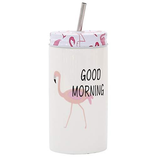 qwdf New Threaded Cup Cover Keramikmuster Becher Kreative Trinkbecher mit Strohhalm Kaffeetasse Frühstück Milch Tasse -