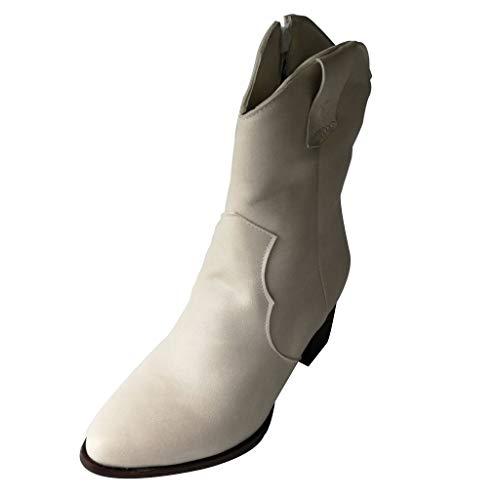 Dorical Damenstiefel Frauen Lässig Block Mittelhoher Absatz Knöchel Stiefel mit Reißverschluss Damen Elegant Party Kurzschaft Booties Schuhe Übergroßestiefel Gr 35-43 EU(Beige,42 EU)