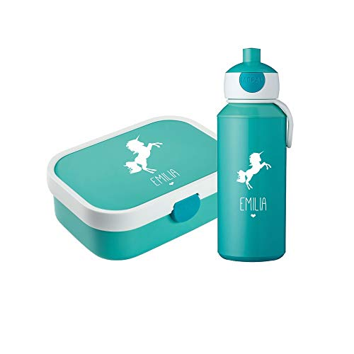 4you Design Set ✶Brotdose & Trinkflasche Silhouette + Name✶ versch. Motive & Farben ✶Mepal Campus + Bento Box & Gabel ✶Schule ✶Kind (Einhorn, Türkis) (Farbe Design)