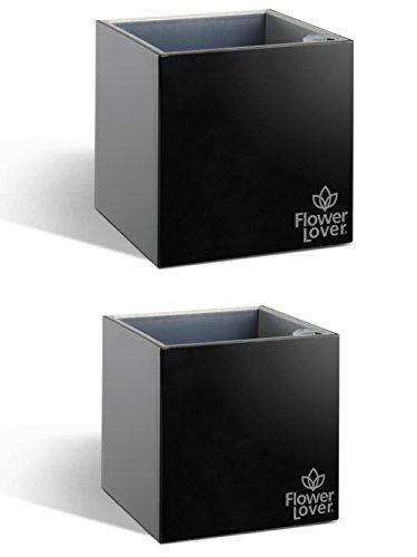 2er Pack Flower Lover Cubico Innen-Blumen Übertopf bewässernden Selbstwässernder mit Wasser Füllstandsanzeige (14x 14x 14cm)–Schwarz glänzend