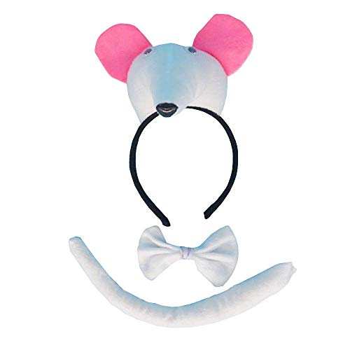 Lovelegis Weiße Maus - Stirnband Set - Schwanz - Fliege - Tiere - Frau - Kinder - Kostüm Kleid Halloween Karneval Cosplay Zubehör - Geschenkidee (Weiße Maus Schwanz Kostüm)