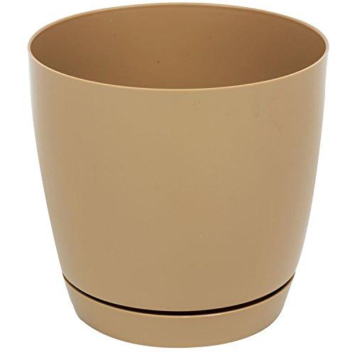 Pot de fleur Toscana en plastique rond 25 cm avec soucoupe, en caffe au lait