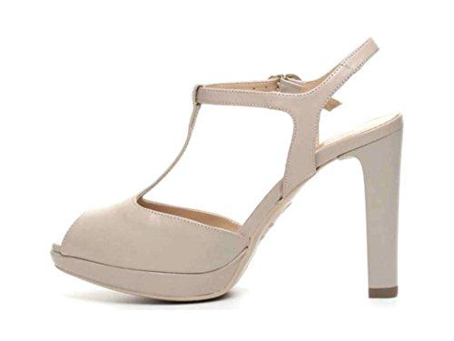 Nero Giardini P717400de Sandales Chaussures Beige Et Noir Élégant Talons Hauts Beige