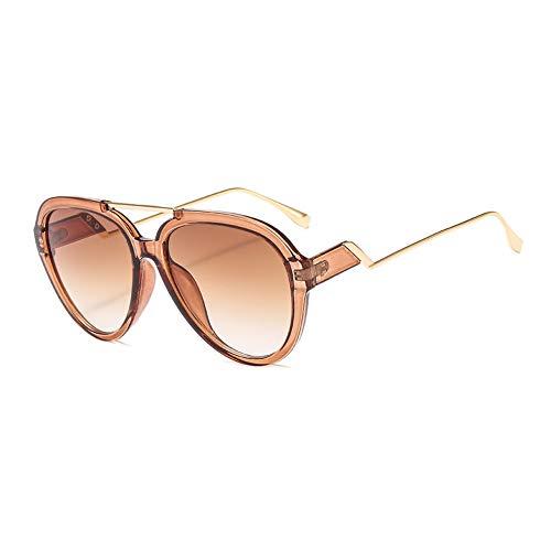 Übergroße Pilotenbrille in Bonbonfarbe, transparent, transparent, Brille und Etui in Celebrity-Tönen, 100% UV-Schutz für Reisen/Urlaub,BrownFrame