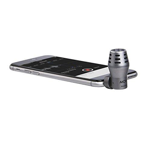 Micrófono de Condensador Calibrado Omnidireccional con Conector TRRS Movo MA200 para iPhone, iPod Touch y iPad de Apple (Gris)