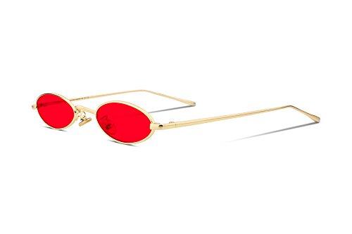 FEISEDY Vintage Kleine Sonnenbrille Oval Schlanke Metallrahmen Bonbonfarben B2277