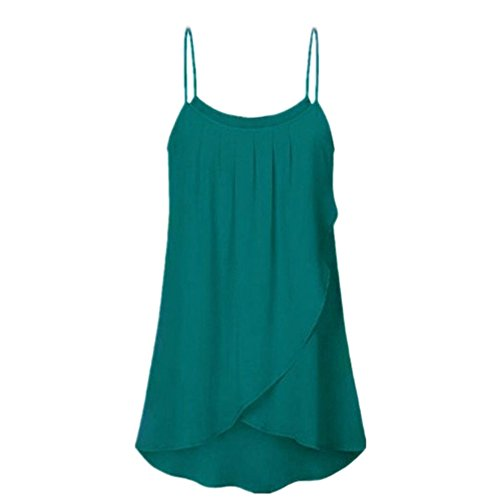 VJGOAL Weste Damen Elegant Große Größen T Shirt Oberteil Frauen Einfarbig Unregelmäßig Sling Tops(Grün,XL)