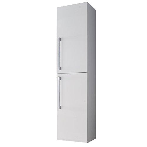 trendteam smart living Badezimmer Hochschrank Schrank Intenso, 32 x 140 x 32 cm in Weiß Hochglanz  mit viel Stauraum