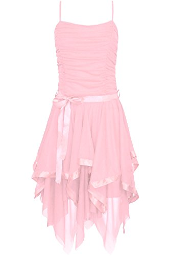 Rüschen Kleid (Fast Fashion Frauen Kleid Plain Zickzack Chiffon Prom Party Saum Mit Rüschen Gürtel Tie)