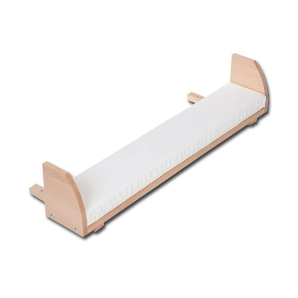 NSAuk BabyBay Maxi Extension Shelf (Varnished Beech) NSAuk Comes with additional mattress, with a breathable foam core and a soft white cover Extends the sleeping platform to the front and closes the gap, up to 15 cm, to the parents' bed Fit for maxi and box spring co-sleeper cot 1
