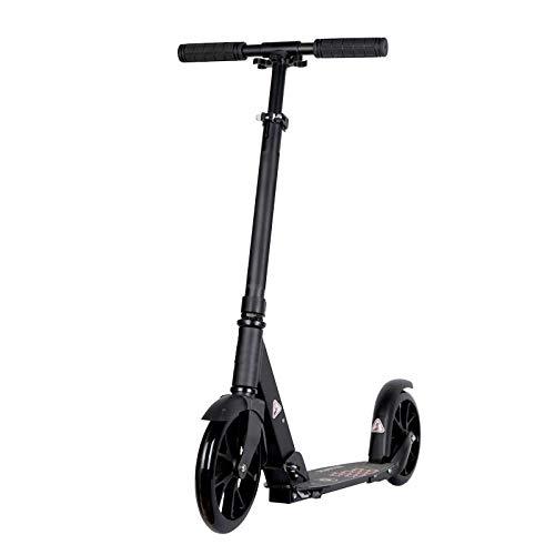 Hokaime New Model Kick Scooter Für Erwachsene Höhenverstellbarer Kinderroller Faltbare Roller Alle Aluminium 20CM 2 PU Räder, schwarz