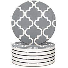 Y YHY Untersetzer-Set, saugfähig, Stein-Untersetzer, Getränkeflecken, 6 Stück, Grau & Weiß, geometrisches Muster -