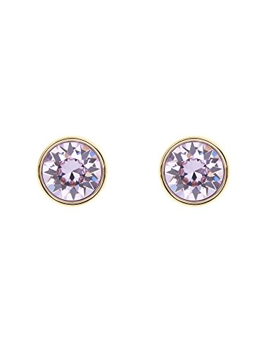 Karen-Millen-Logo-Gold-and-Violet-Stud-Earrings
