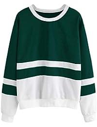 FashMind Solid Green White Sweatshirt for Women