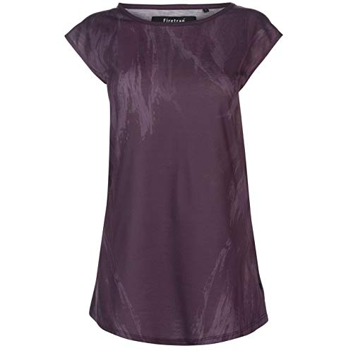 Burgund Grafik (Firetrap Damen Macy T Shirt Top Rundhals Kurzarm Grafik Burgund Feder XS)
