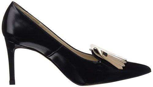 31DJUCoeylL - Hannibal Laguna Consta, Zapatos de Tacón Mujer, Multicolor (Danubio Negro/Charol Beige), 40