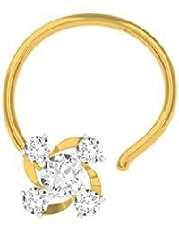 TBZ - The Original Floral 18k Yellow Gold and Diamond Nosepin
