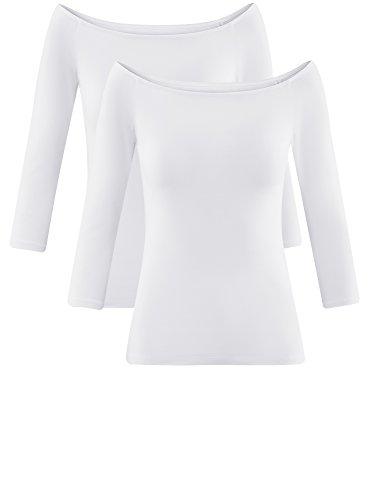 oodji Ultra Damen Tagless Schulterfreies Langarmshirt (2er-Pack) Weiß (1000N)