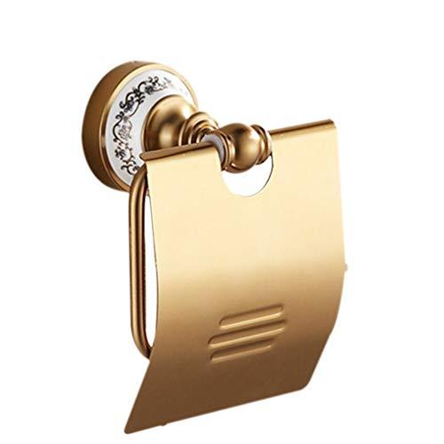 LUDSUY Gold Toilettenpapierhalter Mit Keramik-Rollenhalter-Gewebe-Halter Aus Massivem Messing Bad-Accessoires Productsbathroom Zubehör -