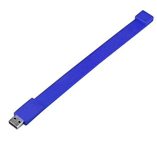 Silikon Armband USB2.0-Stick, Transer® Flash Drive 128GB 2GB 4GB 8GB 16GB 32GB 64GB USB 2.0Flash Drive Memory Stick Speicher Pen Digitale U Festplatten Mehrfarbig blau 16 GB -