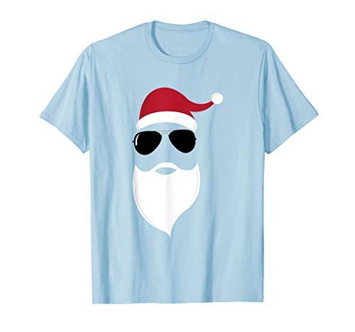 Weihnachtsmann-Bart-Hut Flieger-Sonnenbrille Weihnachten T-Shirt