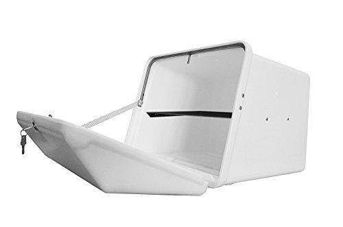 Portaequipajes Moto baúl Reparto Blanco con Bandeja y Reflectantes homologados, Cierre Cerradura