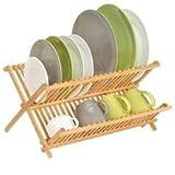 mDesign Scolapiatti da appoggio – Perfetto accessorio cucina per fare asciugare piatti e bicchieri- Scolapiatti da cucina ripiegabile in bambù resistente all'acqua – legno/bambù