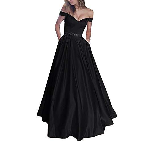 Sannysis Damen Maxikleid Elegantes Spitzen Spleiß Kleid Ärmellose Schulterfreies Spitzenkleid Partykleid Festliches Kleid Chiffon Faltenrock Langes ()