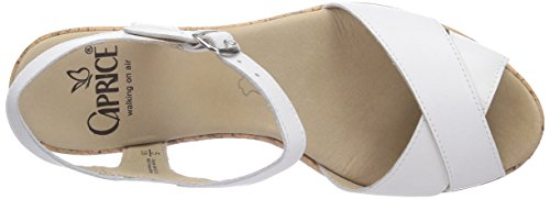 Caprice  28352, Sandales pour femme Blanc - Weiß (WHITE NAPPA/102)