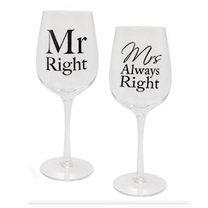 Amore Mr Right & Mrs Always Right Weinglas-Set