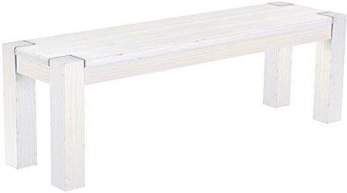 Brasilmöbel Sitzbank 140 cm Rio Kanto Pinie Weiss Pinie Massivholz Esszimmerbank Küchenbank Holzbank - Größe und Farbe wählbar