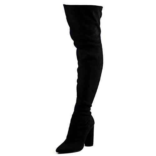 Damen Strecken Tailliert Spitze Block Ferse Mode Oberschenkel Hoch Stiefel - Schwarz Wildleder - UK5/EU38 - KL0222 (Stiefel Ferse Lange)