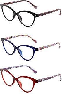 JM 3 Pack Mode Designer Katzenauge Lesebrille Federscharnier Brillen für Leser Damen +1.25 Mischfarbe