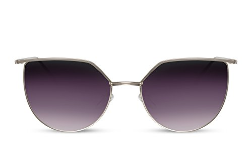 Cheapass Sonnenbrille Rund Cat-Eye Silber Violett Lila UV-400 Designer-Brille Metall Damen Frauen