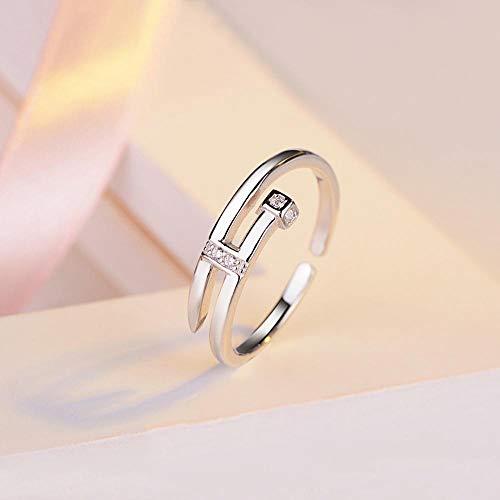 Laogg Einstellbar Ringe 925 Silber Ring Persönlichkeit Diamond Nagel geformte geöffnet