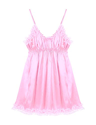 iEFiEL Herren Sissy Kleid Satin Dessous Nachthemd Trägerkleid mit Spitzen Rüschen Nachtwäsche Dekolleté für Männer Rosa und Blau Rosa X-Large
