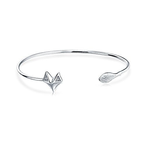Bling Jewelry 925 silberne CZ Fox-Motiv-justierbarer Stulpe-Tier-Armband (Tier-stulpe-armband)