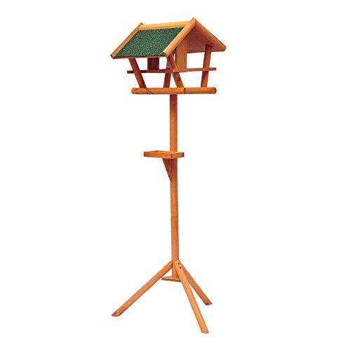 PawHut D10-001 Vogel / Futterhaus Kanarien Ständer Holz mit Dach, natur