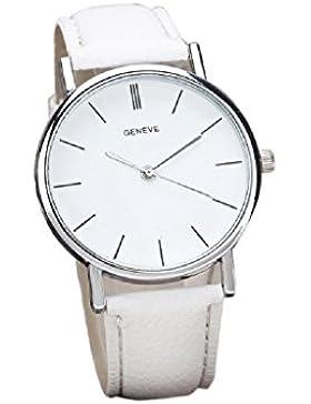 HARRYSTORE Womens Retro Art-Leder-Band-Legierungs-Quarz-Armbanduhr(Weiß)