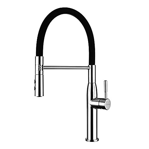 YOHOM Pull Out Kitchen Taps Black Single Lever Sink Mixer Tap Pull Down Dual Function Sprayer with UK Standard Fittings,No Splashing 304 Stainless Steel Brushed Finish