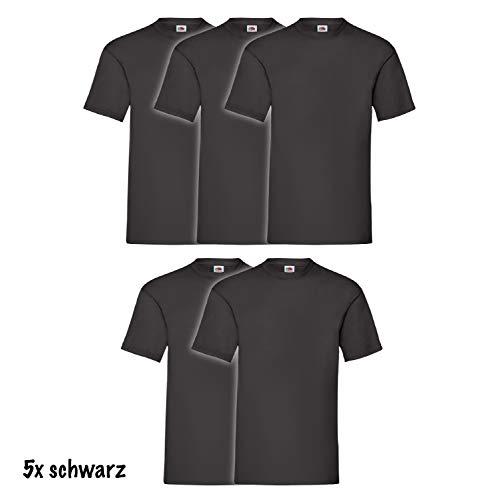 5 x Fruit of the Loom Kurzarm Rundhals T-Shirt in Schwarz, Grösse XL