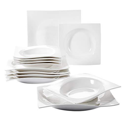 Vancasso Lolita Porzellan Geschirrset, 12-teilig Teller Set für 6 Personen, mit je 6 Speiseteller und Suppenteller