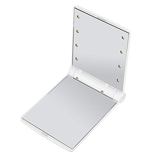 Espejos de Maquillaje LED, Anself Espejo Cosmético Portátil con 8 Bombillas de Luces LED, Espejo de Bolsillo Plegable, sin Batería