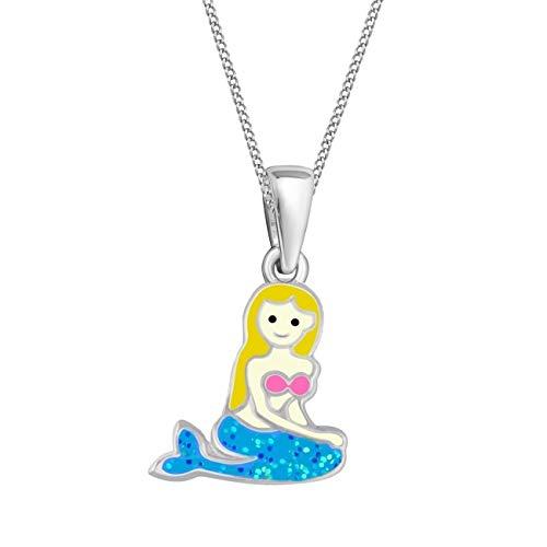 (Kids Blau Glitzer Meerjungfrau Anhänger Halskette Creolen 925 Echt Silber Kinder Mädchen Ohrringe Set (3) Halskette, 38))