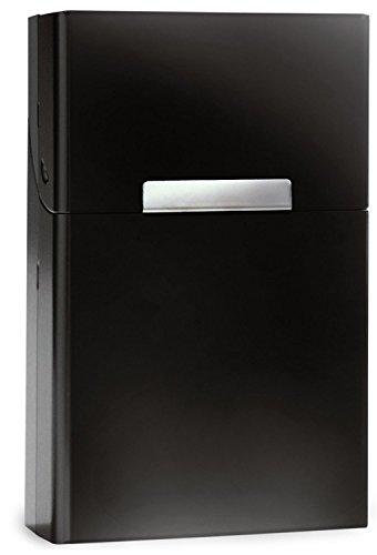 Leichte Zigarettenschachtel Aluminium mit Magnetverschluss - Zigarettenetui Zigarettenbox für 20 Standard-Zigaretten - mehrere Farben wählbar - Standardgröße der Box 9cm x 5,8cm x 2,6cm (Schwarz) -