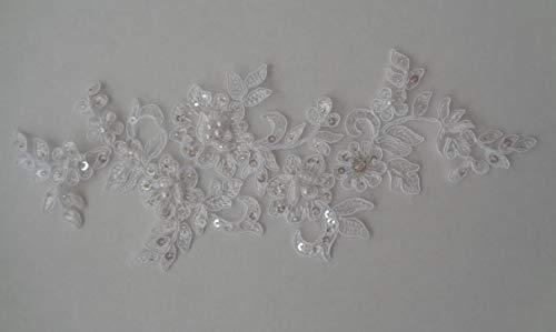 Craftuneed Aplique Encaje Floral Blanco Novia, diseño