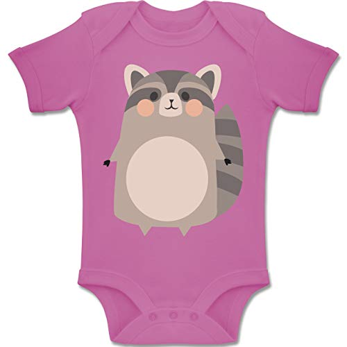 Kostüm Kleinkind Waschbär - Shirtracer Karneval und Fasching Baby - Kostüm Fasching Waschbär - 1-3 Monate - Pink - BZ10 - Baby Body Kurzarm Jungen Mädchen