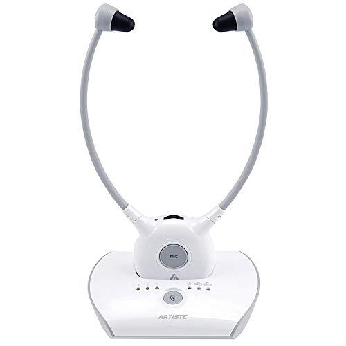 ARTISTE APH100 Casque sans fil pour téléviseur, 2.4GHz Casque sans fil pour personnes âgées (AUX 3.5mm, RCA, comprenant 2 piles et 2 bouchons d'oreille)