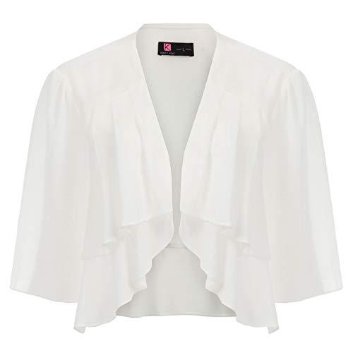 hre Open Front Durchsichtigen Volltonfarbe Kurzarm Bolero Weiß X-Large ()