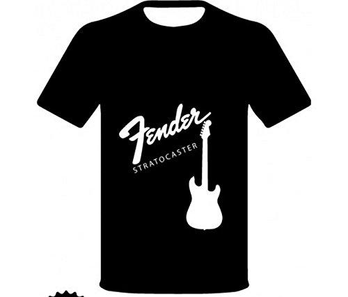 """Monkey Design - T-Shirt Con Logo E Disegno """"Fender Stratocaster - Chitarra"""", Colore: nera, Taglia: L"""